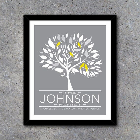 personalized family tree wall art printable modern decor. Black Bedroom Furniture Sets. Home Design Ideas