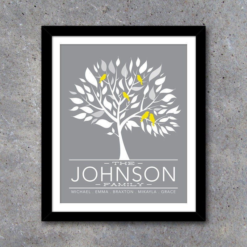 Modern Family Wall Decor : Personalized family tree wall art printable modern decor