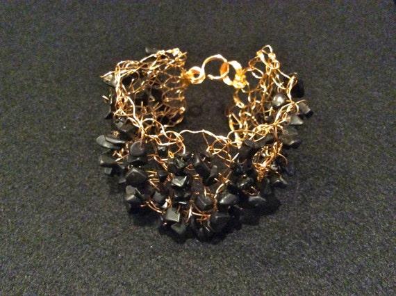 Handmade wire crochet cuff bracelet with black jasper chips - gemstone.