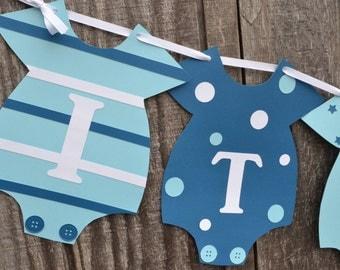 Blue Baby Shower Banner, Baby Boy Banner, Blue Onesie Banner, Gender Reveal Banner