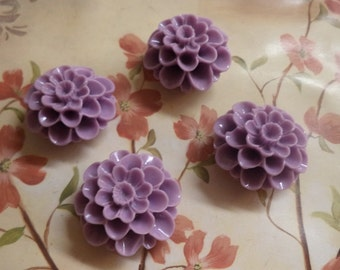 25mm round 4 layer flower cabochon lilac color 4 piece lot