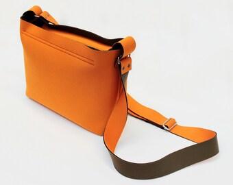 Designed mini Neoprene Orange Shoulder bag,Cross shoulder bag little bag,Minimalism,Clutch,Structure bag,Gift for her,Adjustabl