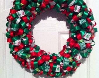 Handmade Glittery Christmas Ribbon Wreath