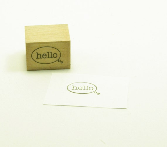 Expression Of Words Written In Ink: Hello Speech Bubble Rubber Stamp Wood Mounted Small By