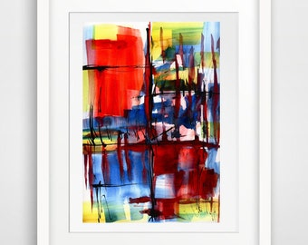 abstract drawing, abstract painting, abstract room decor, abstract watercolor, art for over bed, abstract wall art