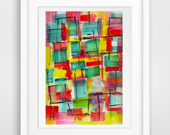 colorful watercolor painting print art wall art wall decor room decor, wall painting print, living room print