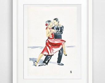 Tango dancer watercolor, dancer art wall, dancing decor, dancer print, watercolor dancer, dancer poster, dancer drawing