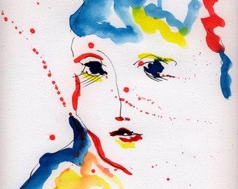 portrait print, abstract portrait, portrait print 8x10, portrait art, modern portrait, portrait print art, portrait giclee