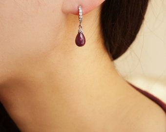Luxurious Ruby Drop White Gold Filled Silver Earrings