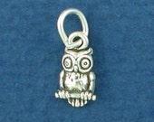 OWL Charm, MINIATURE Small Bird .925 Sterling Silver Charm