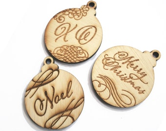 Rustic Wood Calligraphy Christmas Ornaments, Laser Cut and Etched