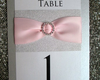 Silver and Pink Glitter Table Number, Wedding, Sweet 16, Bat Mitzvah, Shower
