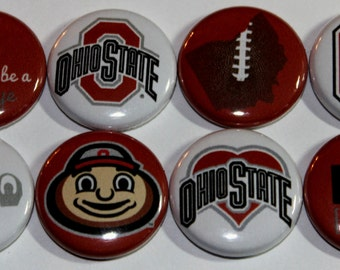 Ohio State University Buckeyes Flat Back Button Flair Set
