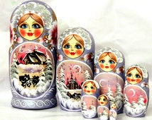 FREE SHIPPING Winter landscape russian nesting doll 7pcs painted curved hand collectible souvenir gift wood birch matreshka doll