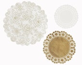 24 paper doilies in gold pattern