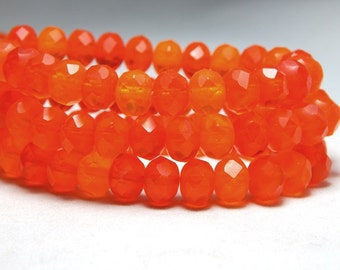 8x6mm Orange Matte Mix Czech Beads, Orange Beads, Neon Orange Beads,Bright Orange Beads, Orange Czech Rondelles, Orange Faceted Beads T-75A