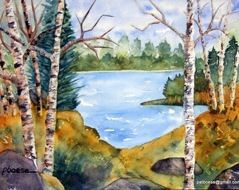 Silent Cove is an archival matted print of an original watercolor painting.
