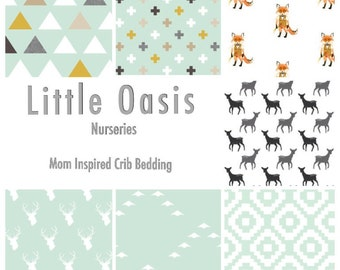 Little Oasis Custom Crib Bedding; Woodland Adventures. Choose a crib sheet, skirt, pillow, changing cover or valance.