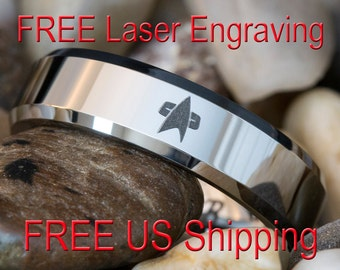 Tungsten Carbide Band 6mm Beveled Star Trek Design Ring-Free Inside Engraving
