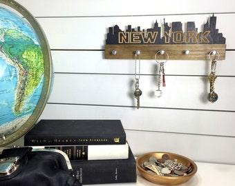 New York City Skyline key holder wall mounted modern wood