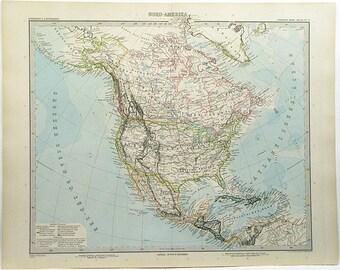 Original Color Lithograph Map Of North America 1897 Stieler's Hand Atlas #77 18 x 15 Rare Vintage Atlas Map Wall Decor