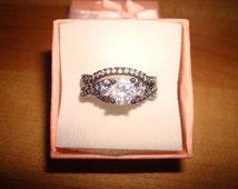 Diamond Cut White Sapphire 10KT Black GF Engagement Wedding Ring Set Size 5