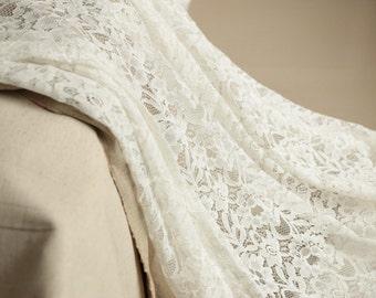 Lace fabric Ecru white,peony LACE fabric, beautiful off white  curtain fabric,white fabric,cotton Lace