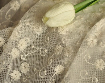 """4.5ft off White Lace Fabric flower Embroidered Tulle 55"""" Lace Fabric For Wedding Dress Veil Costume off white lace fabric Curtain Tablecloth"""