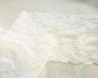 "Wide Stretch Lace Trim. 7"". 1 Yard/5yards"