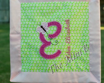 Butterfly alpha Mini B security blanket, lovey personalized with name and initial