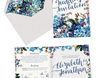 SAMPLE of Vintage Forget-me-not wedding invitation