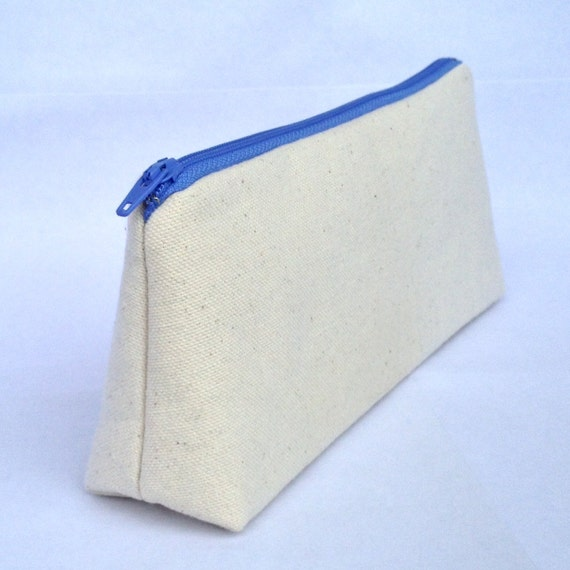 Small Canvas Makeup Bag Pencil Case or Zipper Pouch. Natural