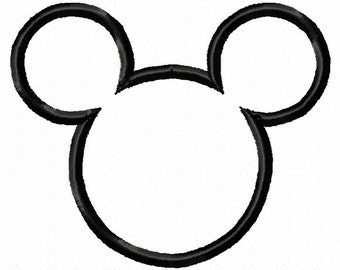 Mouse ears applique design download 3 sizes - 4x4, 5x7 and 6x10