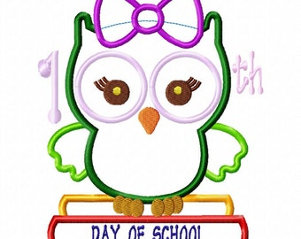 100th Day of School girl owl applique design download - 6x10 hoop size only