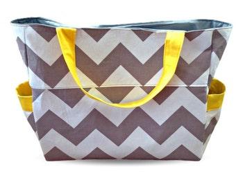 Chevron Large Nappy Bag - Diaper Bag - Grey Chevron with Yellow