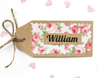 Rustic Shabby Chic, Ribbed Kraft Floral Fabric Wedding Place Card Tag