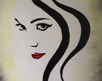 """16""""x20"""" Abstract Black and White Painting of woman with Red Lips"""