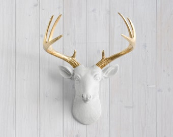 Faux Deer Head Wall Mount - White Mini Deer Head + Gold Antlers by Wall Charmers™ Faux Taxidermy - Animal Head Fauxidermy Gallery Wall Decor