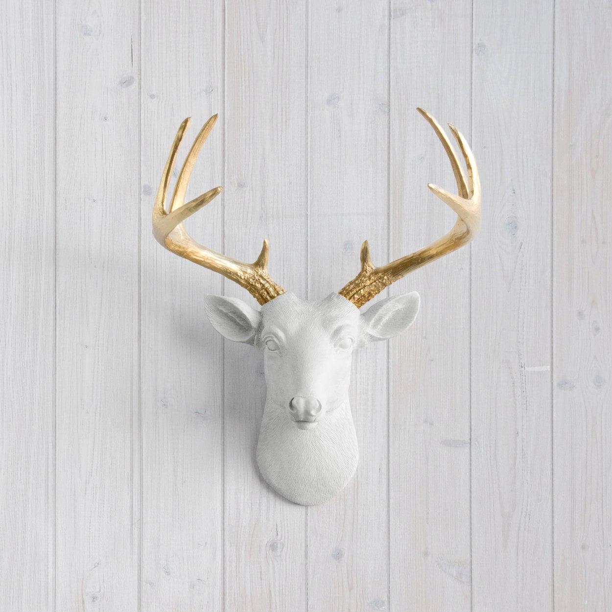 Faux deer head wall mount white mini deer head gold zoom amipublicfo Choice Image