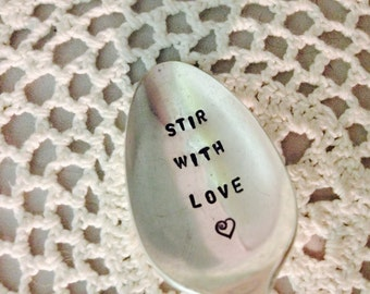 Stir With Love Hand Stamped Vintage Silver Plate Spoon