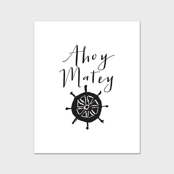 Pirate Art Print Ahoy Matey Printable Wall Art 8x10 Nautical