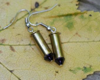 Bullet jewelry, bullet earrings, 22 caliber brass bullet casing earrings with dark purple Swarovski crystals, bullet jewelry,  bullet dangle