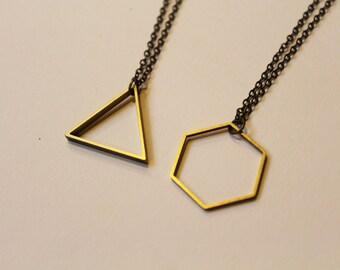 Triangle or Hexagon Brass Geometric Minimalist Necklace