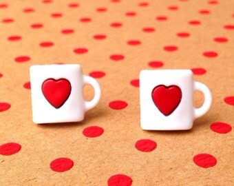 "SALE Handmade ""Cup 'O Love"" Coffee Cup with Heart Earrings"