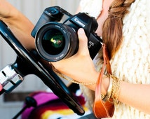 artisan Leather Camera Wrist Strap, rose gold, metallic, perfect DSLR camera hand strap, made with genuine leather in the USA