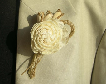 Boutonniere,  groom boutonniere, Sola Flower,  Wedding Flowers