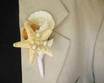 "Shell Boutonniere  "" Starfish"" , Wedding Sea Shell,Beach Wedding"