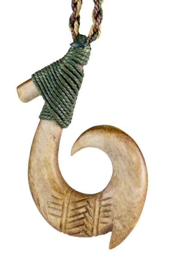 Hawaiian aged bone fish hook with scrimshaw and specialty cord for Hawaiian fish hook