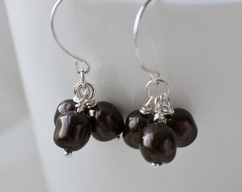 "Deep brown Swarovski pearl Cluster Earrings Handmade Wire Wrapped ""Coffee Beans"""