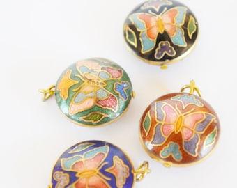 vintage cloisonne circle butterfly pendant